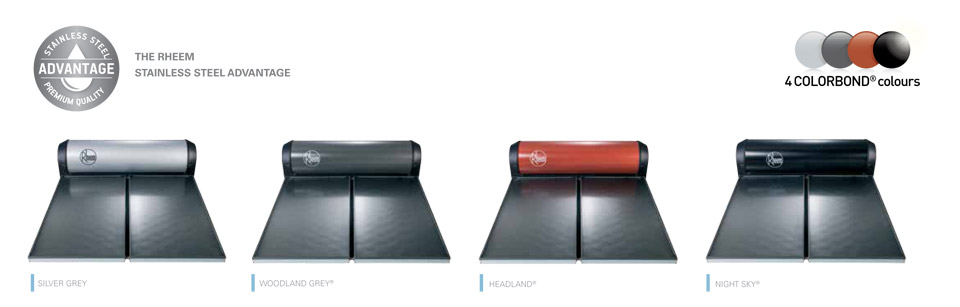 rheem solar water heater colourbond colour range